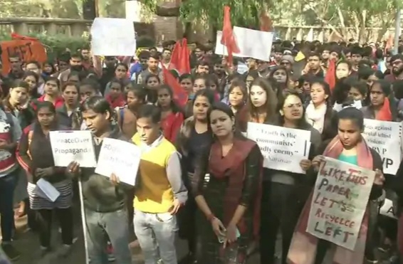 ABVP Protest March In Delhi University Against