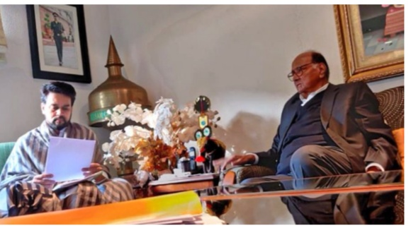 NCP chief Sharad Pawar meets minister of state for finance Anurag Thak