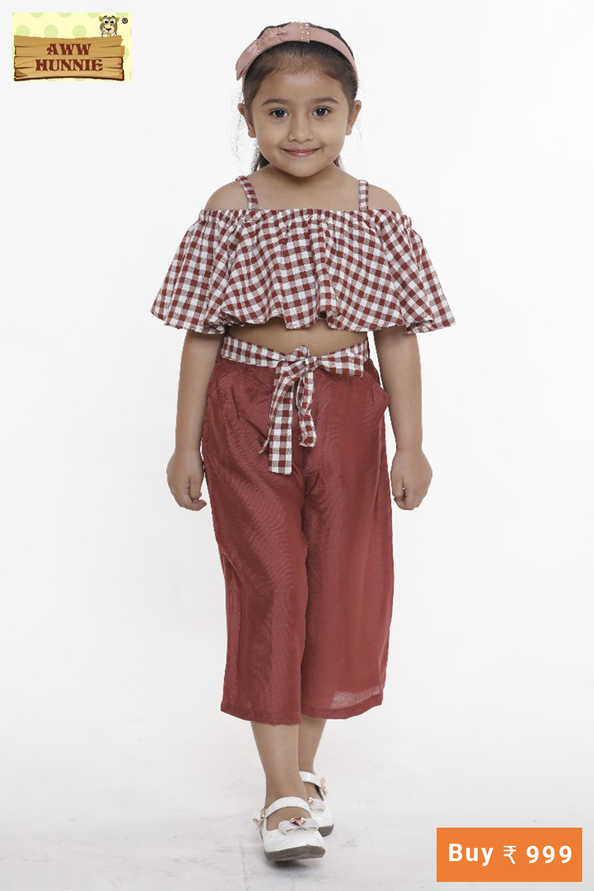 Aww hunnie check flaired crop top with solid cullotes.   Sizes Availab