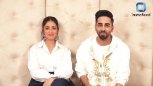Bala actor Ayushmann Khurrana and co-star Yami Gautam arrive in style for promotion of their movie