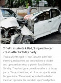 2 Delhi Students killed, 3 injured in car crash after birthday party
