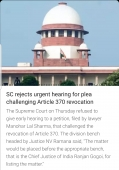 SC rejects urgent hearings for plea challenging Article 370 revocation