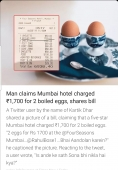 Man claimed Mumbai hotel charged rs 1700/- for two boiled eggs, shares bill
