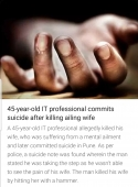 45 years old IT professional commits suicide after killing ailing wife