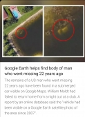 Google earth helps find of a body of man who went missing 22 years ago