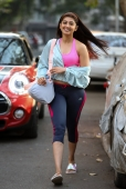 Pranitha Subhash waves at the papparazi post her gym session.
