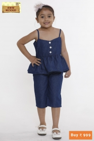 Aww hunnie Blue pumplum style top with capri  Sizes Available:  2-3 ye