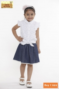 Aww hunnie white knot frill sleeves shirt with denim tutu skirt.  Size