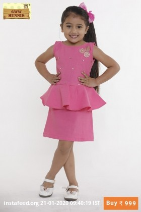 Aww hunnie pink pumplum dress.   Sizes Available:  2-3 years  3-4years  4-5years  5-6years  6-7years  7-8years